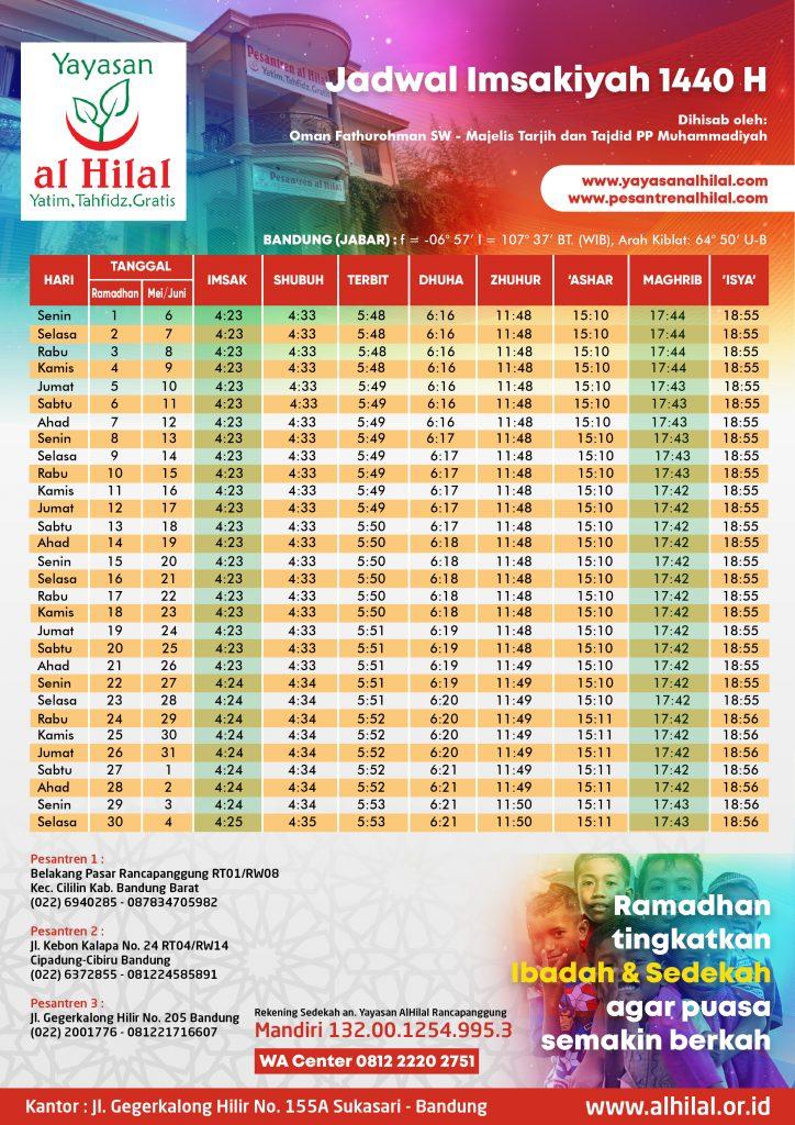 Jadwal Imsyakiyah 2019