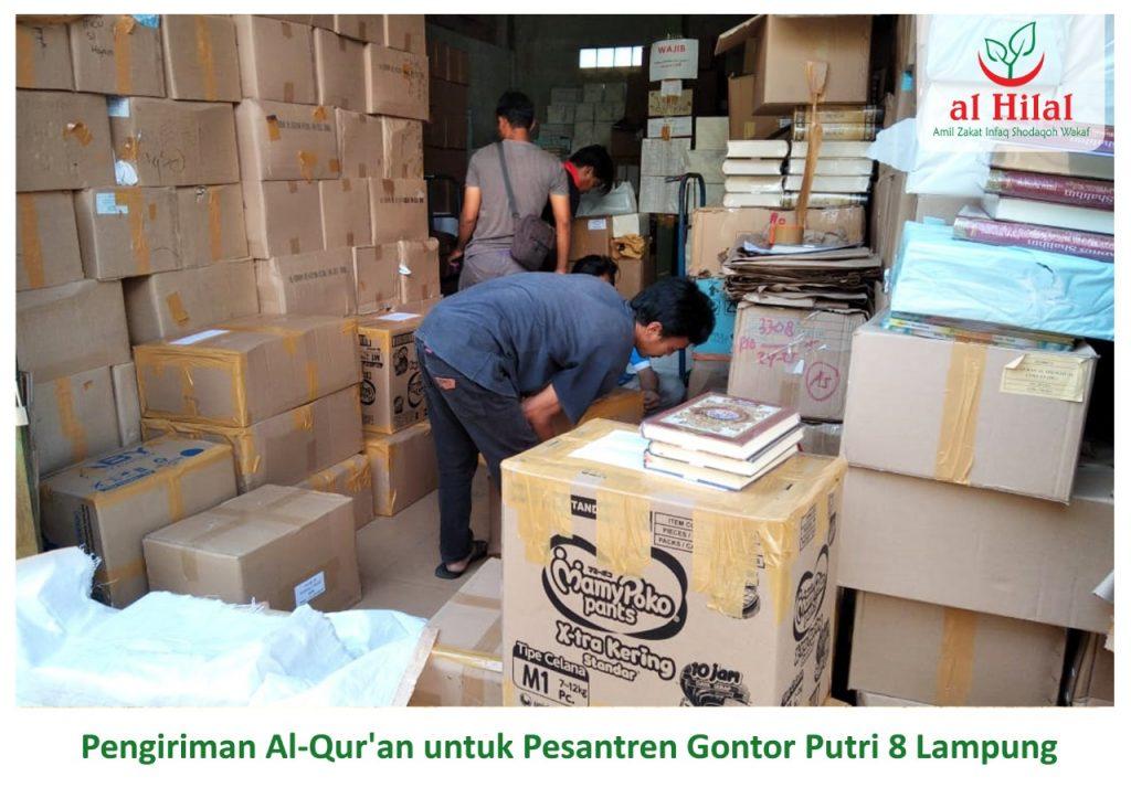 Pengiriman 250 Qur'an wakaf donatur Al Hilal. Untuk seluruh santri Gontor Putri 8 Lampung 3