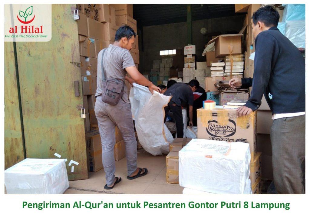 Pengiriman 250 Qur'an wakaf donatur Al Hilal. Untuk seluruh santri Gontor Putri 8 Lampung 1